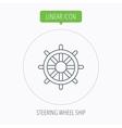 Ship steering wheel icon Captain rudder sign vector image