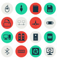 set of 16 computer hardware icons includes memory vector image