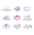 mountain original logo design watercolor vector image