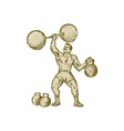 Strongman Lifting Barbell Kettlebell Etching vector image