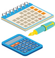 Isometric fountain pen calendar and calculator on vector image