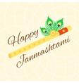 Happy Janmashtami card with Krishna flute on warm vector image