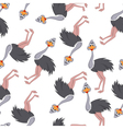 Seamless Funny Cartoon Ostrich vector image
