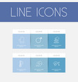 set of 6 editable weather outline icons includes vector image