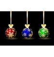Three colored Christmas spheres vector image