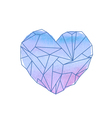 Watercolor mineral heart-shaped crystal vector image