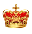 Royal gold crown with red precious stones vector image vector image