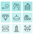 set of 9 holiday icons includes champagne glasses vector image