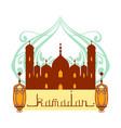 ramadan greeting card mosque and arabic lamps vector image