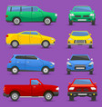different cars city vehicle transport set vector image