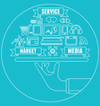 Line concept of media market service vector image vector image