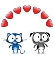 Cat dog valentine lovers vector image