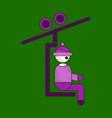flat shading style icon man on ski lift vector image