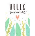 hello summer cute plants and text vector image