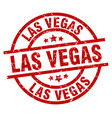 las vegas red round grunge stamp vector image