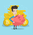 man holding a piggy bank with a bitcoin sign vector image