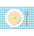 Oatmeal porridge with a piece of butter in a plate vector image