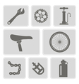 set of monochrome icons with bicycle vector image
