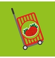 trolley shop juicy strawberry fruit vector image