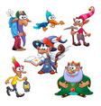 A group of funny gnomes with bird vector image