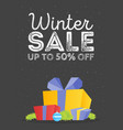 winter sale poster design template or gift box vector image