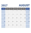 2017 August calendar week starts on Sunday vector image