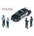 Police car - policeman - policewoman Flat 3d vector image