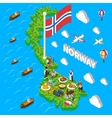 Norway Map Touristic Symbols Isometric Poster vector image