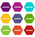 audio digital equalizer technology icon set color vector image