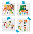 children doing different activities together vector image