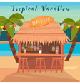 Vacation Banner with Beach Bar and Palm Trees vector image