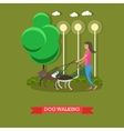 Woman walking with dogs in a park poster vector image