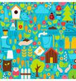 Spring Garden Flat Design Blue Seamless Pattern vector image