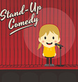 female stand up comedian cartoon character vector image