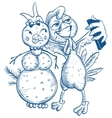 Funny selfie Blue cock and snowman vector image