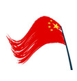the flag of china is developing in the wind vector image