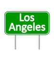 Los Angeles green road sign vector image