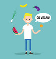 modern lifestyle go vegan young blond boy vector image