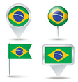 Map pins with flag of Brazil vector image