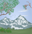 Mountains spring landscape with flying cranes vector image