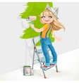 Cute girl in overalls standing on a stepladder vector image