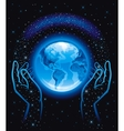 with human hands holding blue vector image