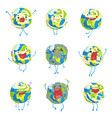 cute funny planet earth emoji showing different vector image