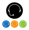 headphone round icons set of support flat style vector image
