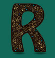 letter r with golden floral decor vector image