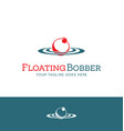 red and white fishing bobber logo design vector image