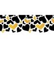 Gold and Black Hearts Horizontal Seamless vector image