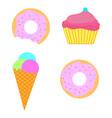 sweet set ice-cream donut cupcake vector image