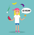 modern lifestyle go vegan young blond girl vector image