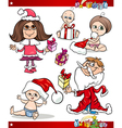 Christmas Children and Babies Cartoon Set vector image